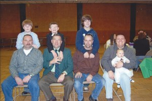 The Boys and their boys: Pat Davis and Zach, John Latimore and Kyle, Alex and I, and Bruce with Keegan on his lap.
